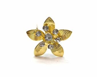 Gold Flower Rhinestone Hair Pins (Set of 12)