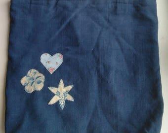 Blue Antique French Linen Shoulder Bag with applique details