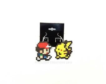 Pokemon Inspired Ash & Pikachu Hook Earrings Set (hypoallergenic)