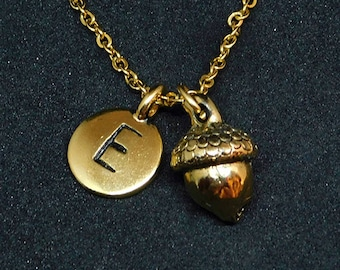 Golden Acorn with Initial necklace, initial charm, personalized jewelry, acorn necklace, nature jewelry, acorn charm