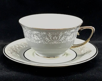 Vintage Vogue Prelude 1954 China Cup Saucer rare gray trim prelude pattern vogue cup saucer set