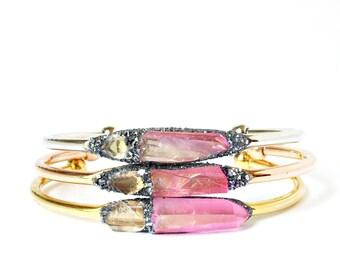 Diamond Quartz Jewelry, Raw Crystal Herkimer Diamond, Herkimer Diamond Bracelet, Crystal Raw Bracelet, Stone Crystal Cuff, Crystal Jewellery