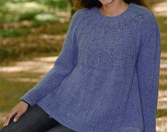 Knit Alpaca sweater, knit jumper with round yoke, rib and A-shape, worked in Drops Alpaca Silk