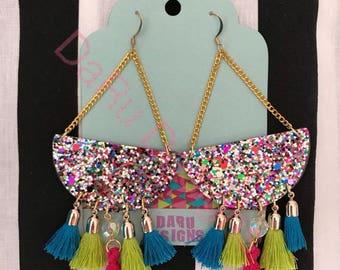 Multicolor glitter earrings, tassel earrings, tassel jewelry, boho earrings, beauty gift, chandelier earrings, statement earrings