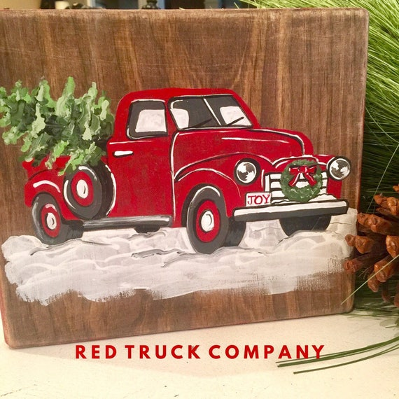 Red Truck with Christmas Tree Vintage Antique sign