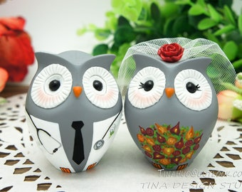 Owl Wedding Cake Toppers,Doctor Groom And bride Wedding Cake Toppers Owl Themed,Doctor Wedding Cake Toppers