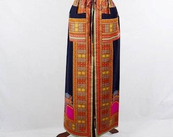 Black Dashiki Angelina African Wax Maxi Skirt, Drawstring Skirt, Dashiki print skirt, Long African skirt - One of a kind