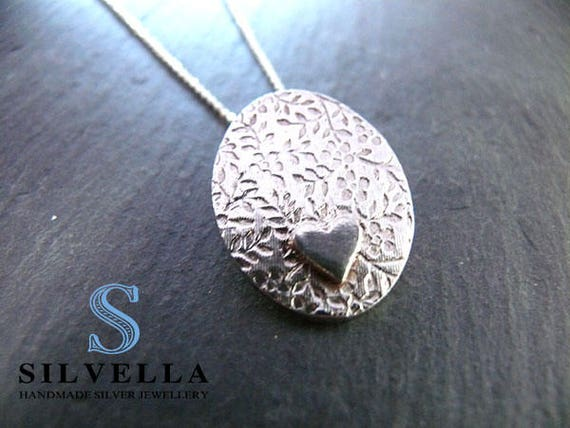 Lace Effect Textured Necklace - Silver Textured Necklace - Handmade in Wales - Wedding Necklace - Gift for Her