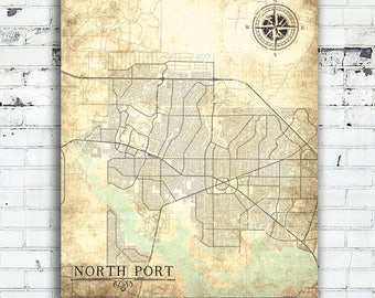 NORTH PORT FL Canvas Print Florida Fl Vintage map North Port Fl City Map Florida Vintage Wall Art poster retro antique gift home decor map