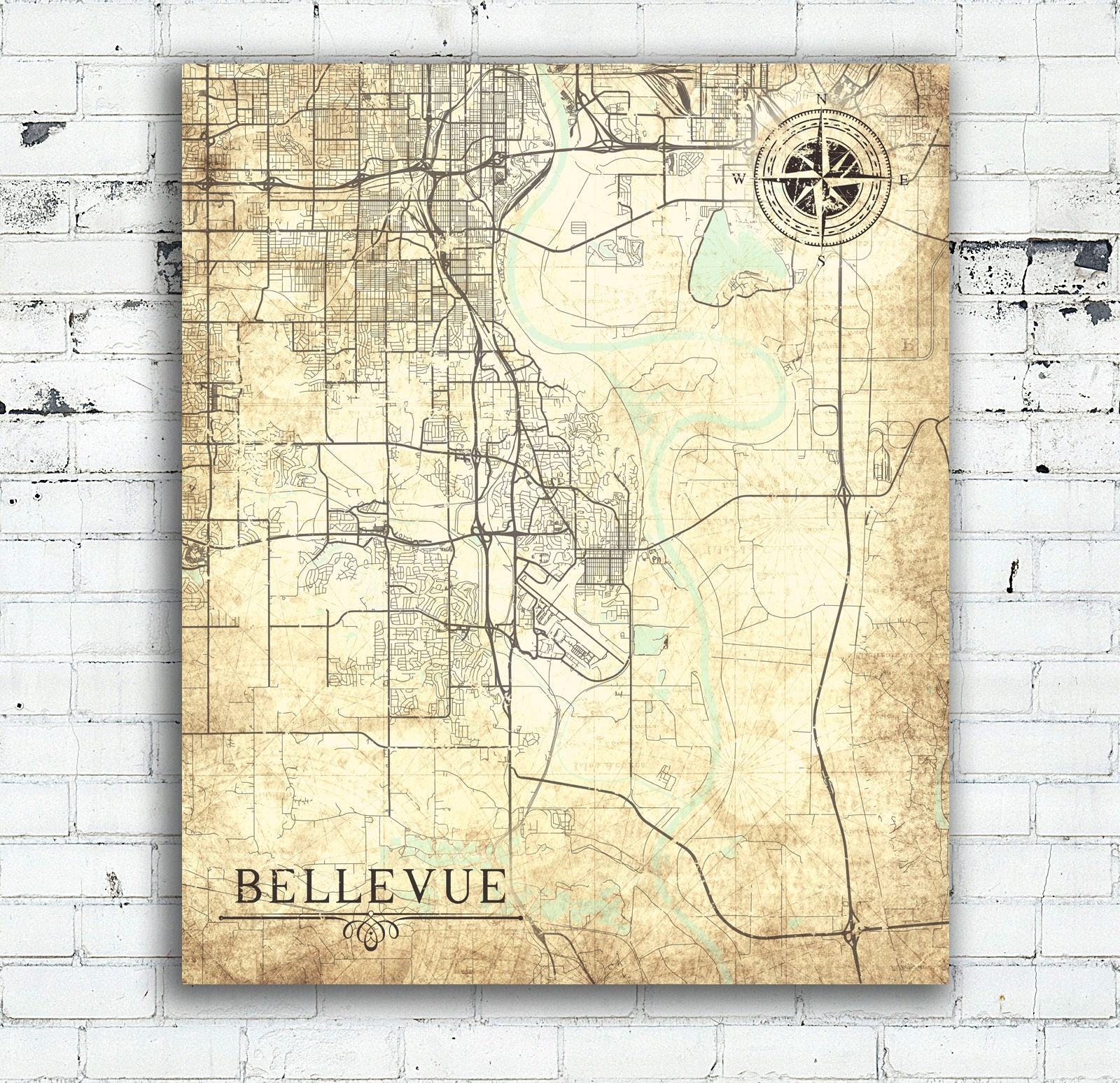 BELLEVUE NE Canvas Print Nebraska City Town Plan Vintage map Wall