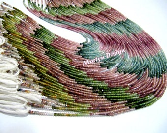 AAA Quality Natural Multi Tourmaline Micro Faceted Rondelle , 2mm Beads , Strand  13 inches Long , Semi Precious Gemstone Beads
