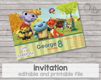 Printable and editable Wallykazam birthday invitation