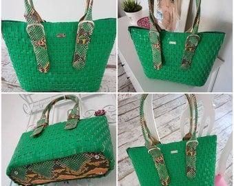 Tasche Schultertasche Shopper grün Veganes Leder