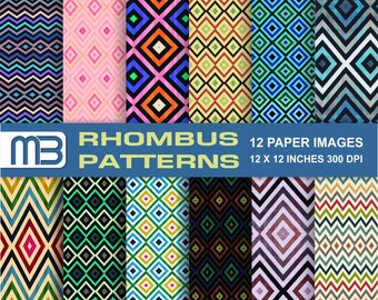Rhombus pattern - digital paper pack - printable papers - Instant download - 12x12 inches papers - for home printing - DIY