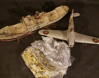 Military Toys 1/2 Inch Model Soldiers with Ship and Plane for Repair