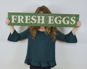 Fresh Eggs Farmhouse Sign // Handpainted Farmhouse Decor // Handpainted Sign