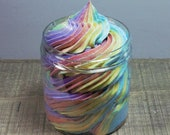 Fluffy Foaming Bath Butter/ Whipped Soap/Rainbow Birthday Cake, Soap in a Jar,White Buoy Soaps,