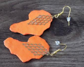 Africa map earrings two-tone silk fabric