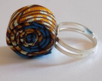 Original ring African blue/black/Tan fabric