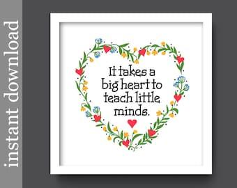 Teacher Gift, Printable Teacher, personalized teacher, gift for teacher, printable gift, Big Heart, Little Minds, classroom art, class gift