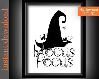 Halloween Printable, Hocus Pocus, Instant Download, Halloween wall art, Halloween decor, Halloween witch, Halloween typography, witch art