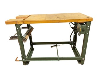 Vintage Industrial Table green sewing machine metal base work butcher block top bench legs ends loft 50s stand man cave factory wooden steel