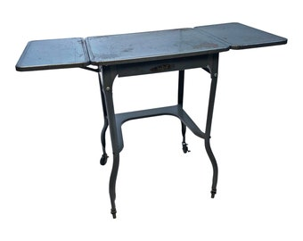 Vintage INDUSTRIAL TYPEWRITER TABLE drop leaf metal mid century plant stand steampunk loft drawer gray architectural salvage double sears