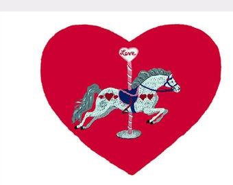 Carousel Valentine Card Set of Eight