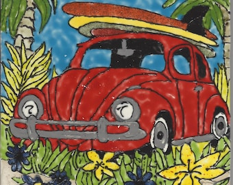 Volkswagen Bug VW Hand Painted Kiln Fired Decorative Ceramic Wall Art Tile 6 x 6