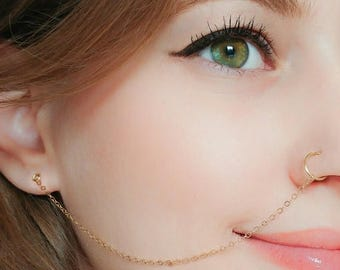 SALE - Nose Ring Chain,Nose Ring Hoop-Ear Chain Nose Ring-Nose Ring Chain Earring-Nose Hoop Chain-Chain Earring-Tribal Jewelry-Indian Jewelr