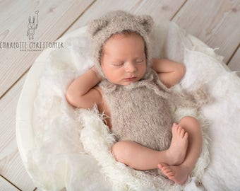 Romper and Teddy bonnet set, NB Romper, 3-6 months Romper, 6-9 months Romper,12 month romper,light Beige romper