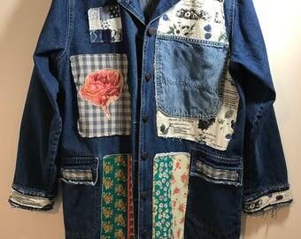Shabby Indigo Fabric Collage Denim Coat