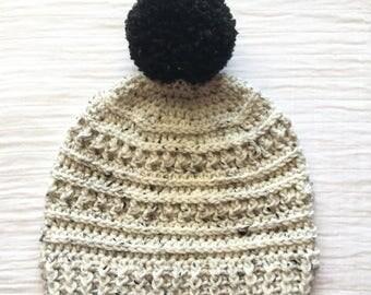 Ivory Tweed Pom Pom Hat crochet beanie adult crochet hat gift for women black pom pom