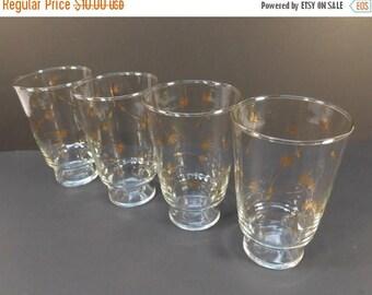 20% OFF SALE - Vintage Libbey Gold Swag Leaf Drinking Glasses, Mid Century Barware