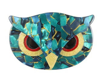 Lea Stein Signed Athena The Owl Head Brooch - Green, Blue, Gold, Red