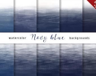 Dark Blue Ombre Watercolor Digital Paper set, 10 Digital Backgrounds, Navy Blue, Scrapbooking, Crafts, Invitations, Digital Scrapbooking
