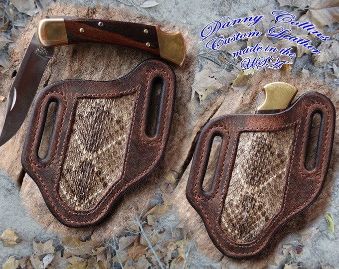 Buffalo and Rattlesnake Knife Sheath, Buck 110 Knife, Fits Buck110 And Similar Sized Knives
