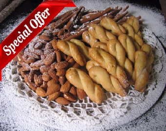 Koulourakia - Greek Butter Cookies - Homemade Cookies from an Old Traditional Recipe - Cookies for Coffee - Twist Cookies  (72 items)