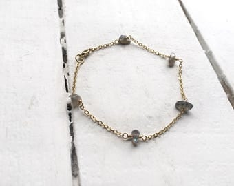 Gold fill anklet, beaded anklet, gemstone anklet