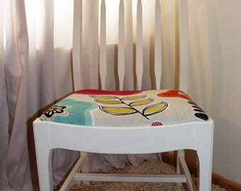 A set of 4 Hand Painted Newly Reupholstered Funky Kitchen Chairs