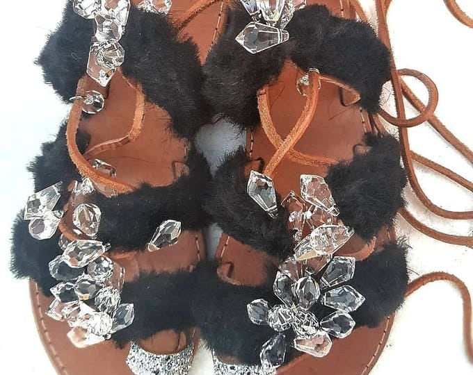Greek sandals/lace up/crystals sandals/women's shoes/fur/sparkly sandals/summer shoes/leather sandals/tie up sandals/glitter sandals/black