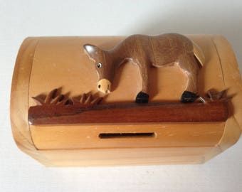 Wooden Box With Hinged Lid, Wooden Money Box, Donkey Gift, Wooden Box With Lid, Wooden Box, Donkey Lover, Donkey Lady Gift, Gift For Girl