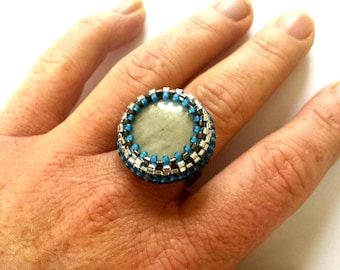 Embroidered Adjustable Ring, blue and grey, Embroidered mother-of-pearl, stainless stell ring,Miyuki Beads * BAB1005