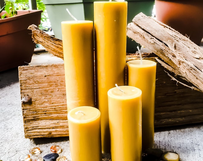 "Extra Tall, Elegant 100% Pure Organic Beeswax Pillar Candles. 2"" in diameter & 6""-9"" tall. Scented or Unscented"