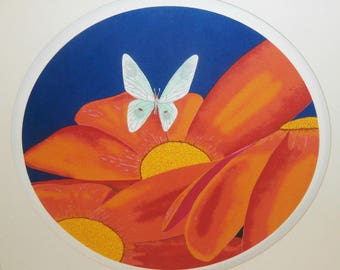 Vintage Chinese Japanese Screen Print Serigraph Moth Butterfly Flowers Signed Koyu Kuyu LE Screenprint Colorful Graphic Landscape
