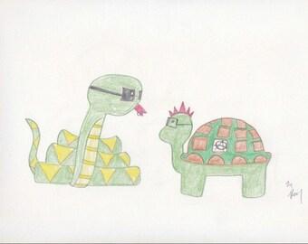 Snake and Turtle Punk Design