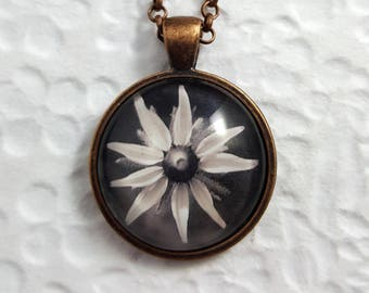 Black and White Flower Necklace with Circle Glass Cabochon Heart Necklace Glass Jewelry Flower Jewelry Nature Jewelry Flower Necklace