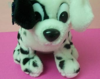 101 Dalmations Walt Disney Patch  Red Collar Black and White Plush Spotted Puppy Dog  Has Surface Wear , Faded tush tag Applause Ear Tag