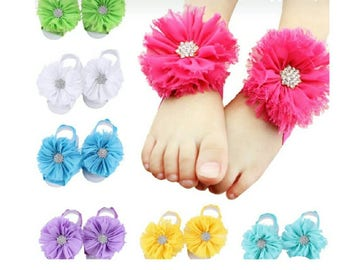 Infant Barefoot Chiffon Sandals 10 Pairs NEW