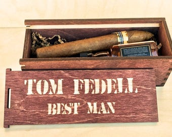 Whiskey Gift Box - Cigar Gift Box - Groomsmen Gift Box - Personalized Cigar Box - Jack - Father of the Bride - Rehearsal Dinner -Groomsman